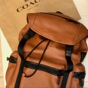 COACH NWOT Mens Brown Leather Rivington Backpack